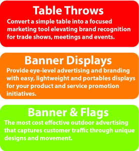 Tradeshow, table throws, banner displays, banners and flags